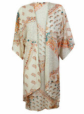 Ex M&CO Orange Paisley Longline Kimono Kaftan Floral Print Summer Size 8-18