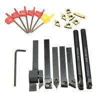 7pcs 10mm Shank Lathe Turning Tool Holder Boring Bar + 7Pcs Carbide Inserts Kit