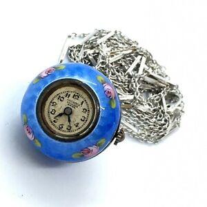 Vintage Crucherer Lucerne Swiss Blue Enamel  Working Monet Pendent Watch