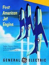 Vintage transport american jet engine avion new fine art print poster CC5507