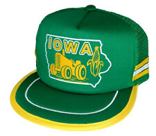 Iowa Corn Tractor Farm Farmer  Green 3 Striped  Snapback Mesh Trucker Hat Cap