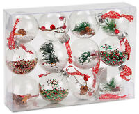 BRUBAKER 12 Dekokugeln Weihnachtskugeln Kunststoff transparent gefüllt Ø18 cm
