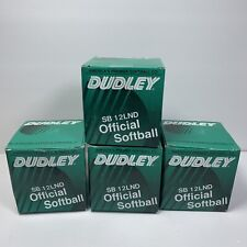 "Dudley Spalding Leather Softball Lot of 4 White Sb12Lnd Cork Core 12"" New"