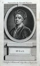 JOHN GAY, Poet original antique portrait print 1764