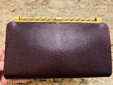 GUCCI 1970's Burgundy Genuine Lizard Clutch Bag