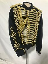 "Men's Military Gold Hussar Black Officers Jacket Chest 46:48"" Epaulettes"