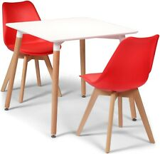 Toulouse Tulip Eiffel Style Dining Set 80cms Square White Table & 2 Red Chairs