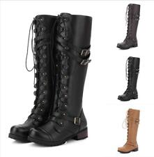 New Womens Knee High Lace Up Biker Ladies Buckle Punk Military Combat Army Boots