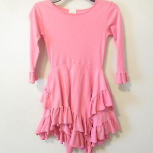 Lemon Loves Lime Girls Pink Cascading Ruffle Dress 6 years