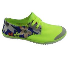 Womens Lace Up Pumps Flat Summer Floral Casual Canvas Ladies Plimsole Trainers