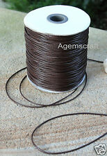 1.5mm Brown Waxed polyester braided Leather like Cord cut to order Craft Design