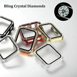 Bling Crystal Screen Protector Case Cover For Apple Watch Series SE 6 5 4 3 2 1