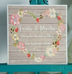 PERSONALISED Handmade Wedding Day Floral Heart Wreath Shabby Chic Printed Card