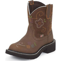 JUSTIN Girls Youth Gypsy Aged Bark Leather Western Cowgirl Boots 9203JR Size