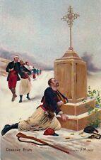 Carte postale ancienne GUERRE 14-18 WW1 dernière étape zouave dessin J MONGE