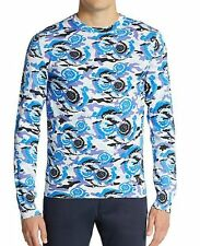 NWT VERSACE COLLECTION SzXL PRINTED COTTON JERSEY PULLOVER SWEATE BLUE MULTI$950