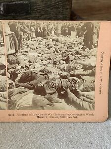 Antique Stereoview Photo Card Robert Kilburn Victims Death Khodinsky Russia