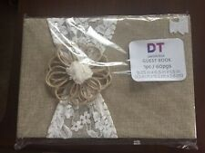New! David Tutera Burlap & Lace Guest Book Wedding or Special Event 60 Pages