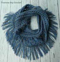 Crochet fringe infinity scarf pattern PATTERN ONLY