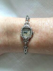 Vintage Ladies Bulova 14K White Gold Diamond Watch