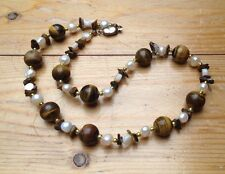Vintage Tigers Eye Glass Necklace/Shell & Pearl Beads/Retro/Hippy/Artsy/Boho