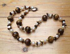 Vintage Tigers Eye Glass Necklace/Shell & Pearl Beads/Retro/Hippy/Artsy/Boho