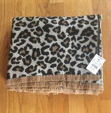 NWT J Crew Brushed Blanket Scarf Natural Camel Leopard #AC839 $59.50