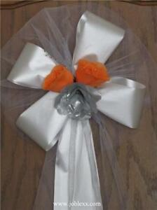 6 ORANGE/SILVER ROSES WHITE satin ribbon pew bows for events