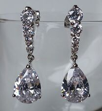 Wedding Swarovski Elements Clear Crystal Silver Long Teardrop Bridal Earrings