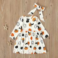 Lovely Toddler Kids Baby Girls Halloween Pumpkin Print Dress Headbands Outfits