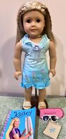 "American Girl 18"" Doll Kailey GOTY 2003 with  Meet Outfit Book Bag Sunglasses"