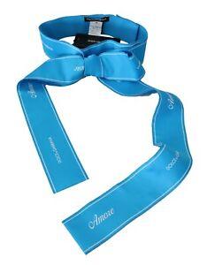 DOLCE & GABBANA Belt Blue Waist Ribbon Wide Bow Logo s. IT36/ XS RRP $800