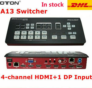 OTON A13 Video Switcher Multi 4-Channel HDMI+1 DP input SDI for Live YouTube Ins