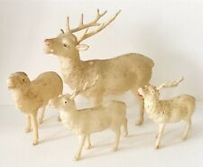 Antique Japan Germany 1930s Glittered Early Celluloid Putz Reindeer Lot X4 As Is