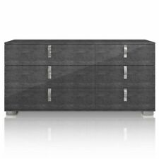 Noble Double Dresser in Gray Birch High Gloss and Chrome Foil Trim