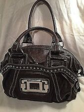 Woman's Hobo Brown Shoulder Bag Faux Leather Embellished With Silver Studs