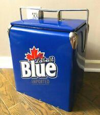 Labatt Blue Metal Retro Vintage Style Beer Cooler w/ Bottle Opener Ice Chest