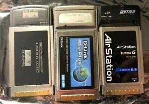 D-LINK DWL-650+, Buffalo WLI-CB-G542, and Cisco Aironet cardbus wifi card 3pack