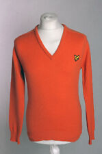 Lyle & Scott Nintage V Neck Pullover Jumper Orange 100% Wool Size M NWT!