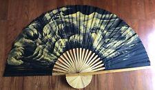 Large Fan Wall Decor Hanging Art Okinawa Japan Black Yellow Vintage