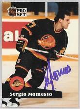 SERGIO MOMESSO 1992 PROSET CANUCKS  AUTOGRAPHED HOCKEY CARD JSA