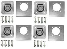 4-Pack Tiedown Recessed D-ring 5,000Lb Trailer Rope Strap Tie W/Hardware & Plate