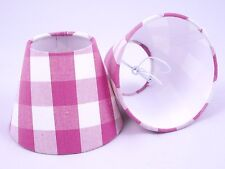 6 Candle Lampshades Handmade in UK - Fryett's Breeze Sorbet Pink Fabric