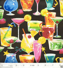Celebrations - Cocktails and Martinis Quilt Fabric - Free Shipping - 1 Yard
