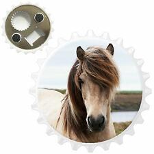 Close Up Of Dirty White Horse Bottle Opener Fridge Magnet