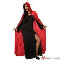 Womens Red Vampire Cape For Dracula Vampira Halloween Fancy Dress Costume Size S