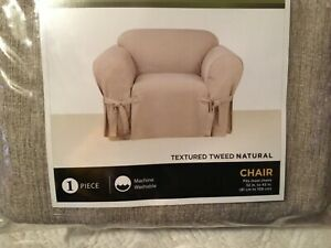 Sure Fit One Piece Chair Slipcover Textured Tweed Natural  NEW