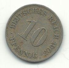 A HIGHER GRADE 1905 J GERMAN - GERMANY 10 PFENNIG-DEUTSCHES REICH-APR130