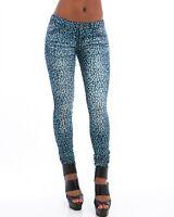New Skinny Light Dark Blue Distressed Leopard Animal Print Stretch Jeans size 7