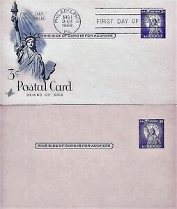"U.S. 1958 ""3c Statue Liberty"" Stationary Scott #UX46 ArtCraft FDC & Mint Copy UA"